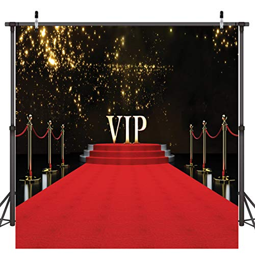 Dudaacvt 8x8ft Vinyl Photography Backdrop Stage Lighting VIP Red Carpet Background for Wedding Customized Photo Studio Props D0830808]()