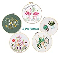 Everydlife 5 Pack Embroidery Starter Kit with Pattern for Beginners, Full Range of Stamped Embroidery Kits with 5 Pcs Embroidery Cloth with Pattern,1 Pc Bamboo Embroidery Hoop,Color Threads Tools Kit