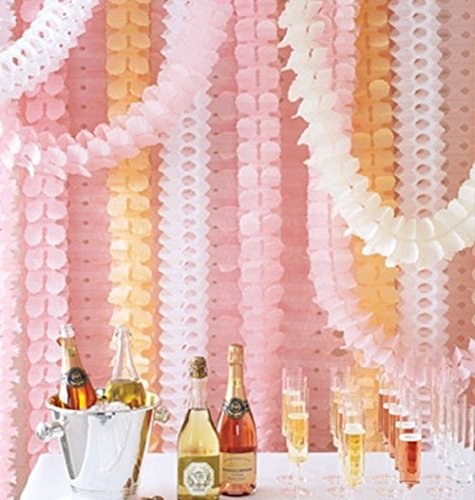 Wedding Flowers Christmas - BTSD-home Reusable Hanging Garland Four-Leaf Tissue Paper Flower Party Streamers for Christmas Party Wedding Decorations (10 Feet/3M Long each), Pack of 6