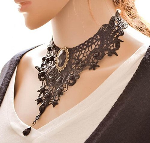 Ouinne Gothic Collar Necklace Black Jewel Lace Choker