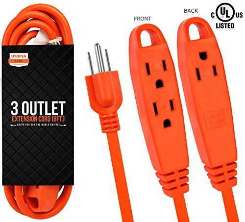 Block 8' Cord (Outdoor 16/3 Extension Cord 8 Feet with 3 Power Outlets - 3 Prong Grounded for Indoor/Outdoor Use - 16 Gauge, UL Listed, SJTW Heavy Duty Construction (Orange) - by Utopia Home)