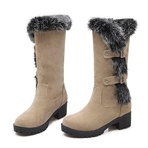 AgooLar Damen Mittler Absatz Rein Rund Zehe Mattglasbirne Ziehen auf Stiefel Cremefarben