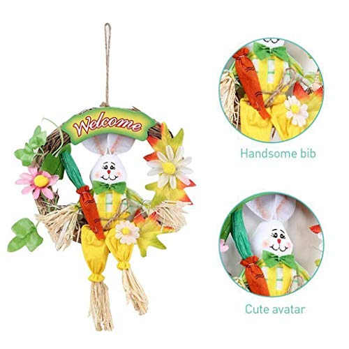 Sunyastor Happy Easter Bunny Wreath Scarecrow Pendant Wall