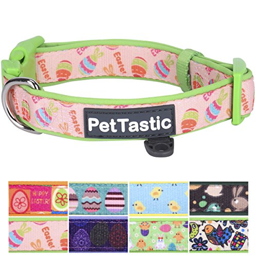 PetTastic Best Adjustable Large Dog Collar Durable Soft & Heavy Duty with Cute Easter Design, Outdoor & Indoor use Comfort Dog Collar for Girls, Boys, Puppy, Adults, Including ID Tag Ring
