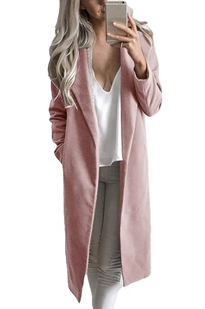 Minetom Elegante Autunno Inverno Giacca Di Lana Trapuntata Donna Casuale Blazer Lungo Giacche Capispalla Cardigan Cappotti Rosa IT 38