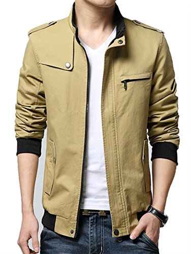 XueYin-Mens-Solid-Cotton-Casual-Wear-Stand-Collar-Jacket