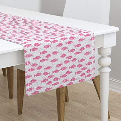 Table Runner - Fish Baby Nursery Animals Navy and Pink Baby Fabric by Andrea Lauren - Cotton Sateen Table Runner 16 x 72 by Roostery