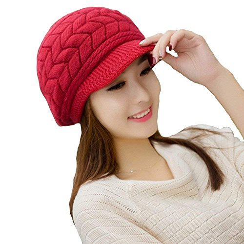 fe9138a366ba Urban Virgin Womens Winter Warm Knitted Hats for Woman Slouchy Wool Beanie  Hat Cap with Visor