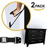 ELLA'S TV / FURNITURE STRAP, Heavy Duty TV Straps, No Plastic Parts, Anti Tip Earthquake Resistant Furniture Anchor, Best Wall Anchors, TV Anchor for Children, Child & Baby Proof, Black (2 Pack)