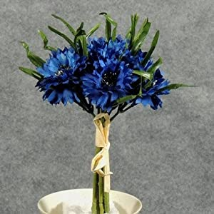 Hanken Set of 2 Mini Rich Blue Bachelor's Button Floral Bouquets with Greenery Grass and Quaint Raffia Tie- 9 Inches High 81