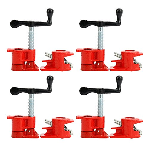 Yaetek (4 Pack) 3/4' Wood Gluing Pipe Clamp Set Heavy Duty PRO Woodworking Cast Iron