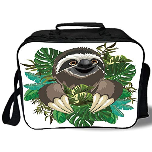 Sloth 3D Print Insulated Lunch Bag,Cartoon Mammal on Tropical Jungle with Green Banana Leaves Cute Character Decorative,for Work/School/Picnic,Chocolate Green Ivory