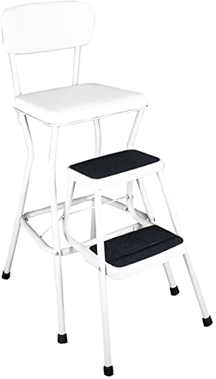 Pleasing Cosco 11118Whte White Retro Counter Chair Step Stool With Pull Out Steps Counter Height Chair Provides Extra Seating When Needed Or Use The 200 Lb Unemploymentrelief Wooden Chair Designs For Living Room Unemploymentrelieforg