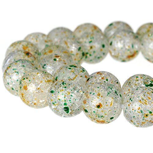RUBYCA Round Crackle Druk Czech Crystal Pressed Glass Beads for Jewelry Making 8mm Strand (White)