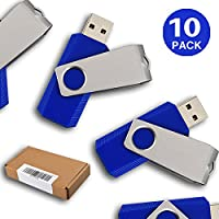 RAOYI 10PCS 1GB USB 2.0 Flash Drive Swivel Design Memory Stick Fold Storage Thumb Stick Pen Thumb Drive Blue U Disk(Ships From USA)