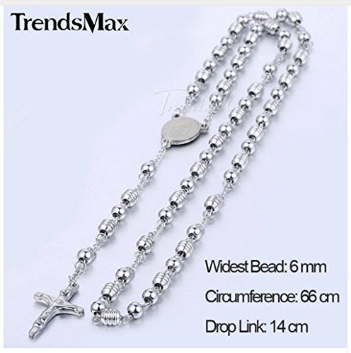 Stainless Steel Bead Chain Jesus Christ Cross Pendant Rosary Necklace Men Women Catholic Unisex Jewelry for Christmas Gift, Widest Bead: 6 mm, Drop Link: 14 cm, Circumference: 66 cm, silver color by KN436