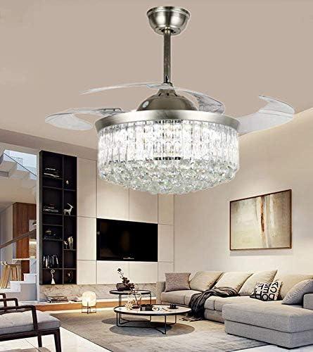 Sweety House 42″ Modern Chrome Crystal Fan Chandelier