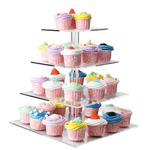 Flexzion 4 Tier Cupcake Stand Holder Tower - Wedding Birthday Party Plastic Pastry Display Tree for Baby Family Afternoon Dessert - Tiered Acrylic Glass Cake Carrier w/Top Tier (4 Tier Clear, Square) by Flexzion (Image #5)