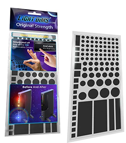 Tint Screen - LightDims Original Strength - Light Dimming LED Covers/Light Dimming Sheets for Routers, Electronics and Appliances and More. Dims 50-80% of Light, in Retail Packaging.