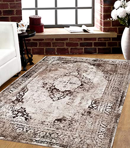 SavaHome 3396_BNE_BBJ 5 feet by 7 feet Decorative Brown Beige Damask Area Rug Designer's Choice Extremely Durable Stain Resistant Smooty Cozy Pet Friendly, Impressed Rich Color
