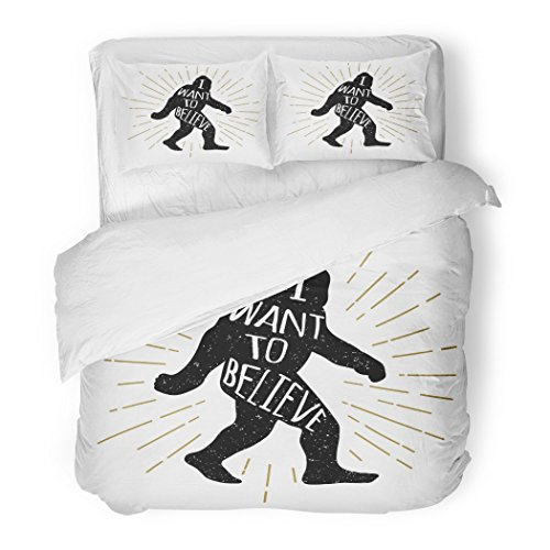SanChic Duvet Cover Set Yellow Animal Bigfoot Yeti Sasquatch with I Want to Believe Lettering Ape Decorative Bedding Set with 2 Pillow Shams King Size by SanChic