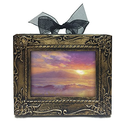 Handmade Desk or Holiday Ornament With Hawaiian Maui Sunset Art by Karen (Ribbon Small Poster)