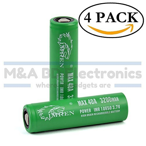 IMREN Green Series IMR 18650 High Drain 3200mAh Li-ion 20A / 40A 3.7V Rechargeable Flat Top Battery, (4 Pack With Hard PC Protection Case) by M&A BD Electronics