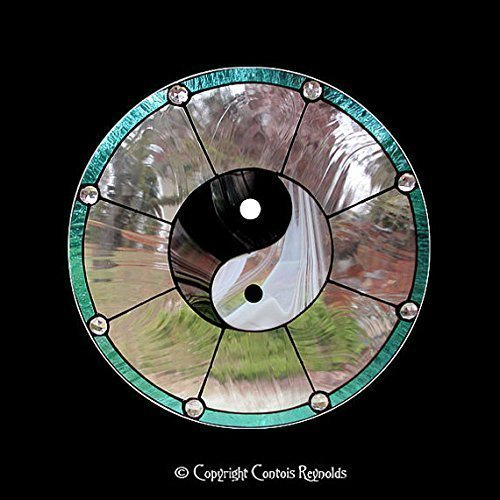 Stained Glass Yin Yang Meditation Window ~ Easy to Hang!