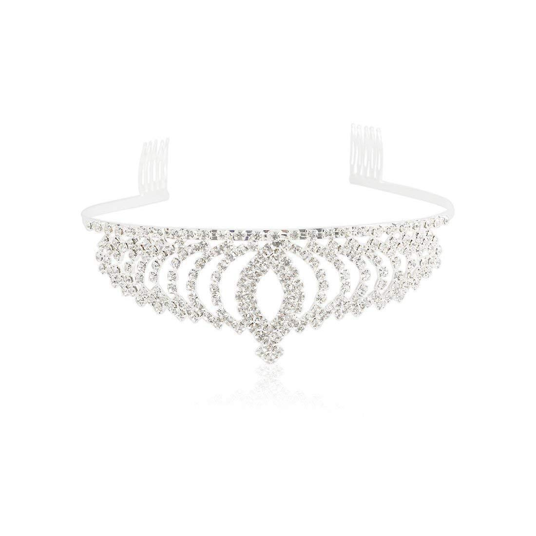 SODIAL Fashion Royal Bridal Princess Tiara Crown Hair Comb Hair Jewelry for Women Girls 170767