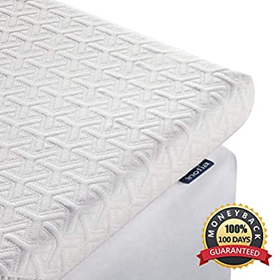 Inofia 2.5 Inch Memory Foam Mattress Topper with Removable & Washable Zippered Tencel Cover,