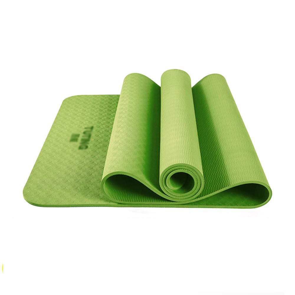 XF ヨガ マット ヨガマット - 広げられた、無臭、リップストップTPE、両面アンチスキッドパターン、女性初心者のヨガダンスフィットネス多機能練習マット、フロアマット、サイズ:183x80cm、183X61cm フィットネストレーニング (サイズ さいず : Grass green-183X61cm, サイズ さいず : Thickness 6mm) B07MP4RSSF