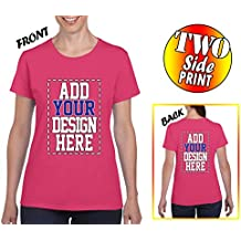 Tee Miracle Custom 2 Sided T-Shirts For Women - Design Your Own Shirt - Front and Back Printing on Shirts - Add Your Image Photo Logo Name Number