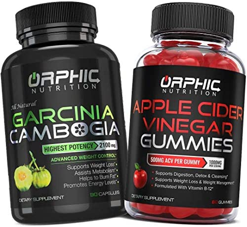 Garcinia Cambogia Extract Capsules & Apple Cider Vinegar Gummies - Appetite Suppressant & Carb Blocker - Formulated for Weight Loss, Energy Boost & Gut Health - Supports Digestion, Detox & Cleansing 1