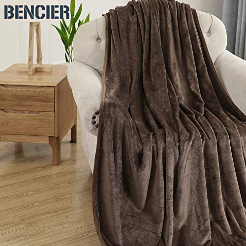 Bencier Flannel Fleece Lightweight Solid Microfiber Breathable Soft Throw Blanket for Couch/Sofa/Bed (Coffee, 50