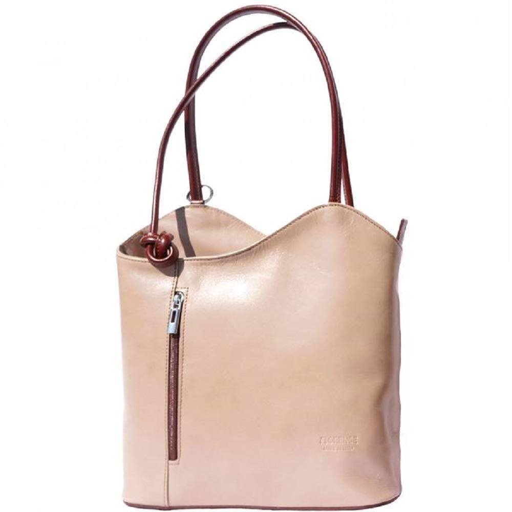 LaGaksta Easy Carry Italian Leather Convertible Backpack Shoulder Purse Medium Light Taupe-Brown