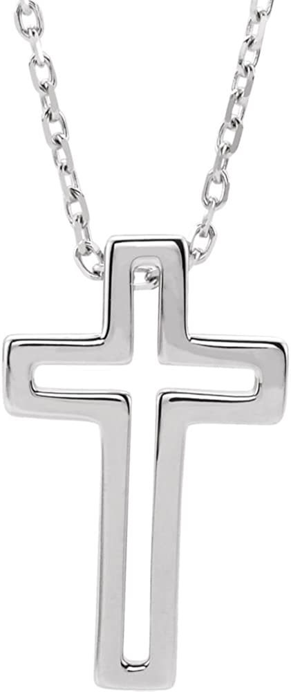 Jewels By Lux 925 Sterling Silver Open Cross Necklace