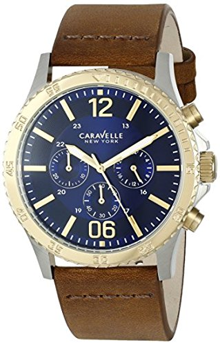 (Caravelle New York Men's Quartz Stainless Steel and Brown Leather Dress Watch (Model: 45A135) )