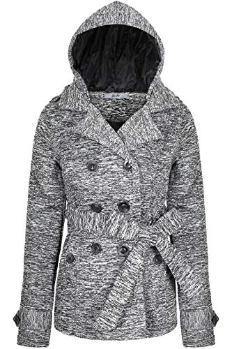 BodiLove Women's Double Breasted Hoodie Short Collared Peacoat w/Belt Grey White L(JF2648)