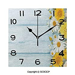 SCOCICI 8 Inch Square Face Silent Wall Clock Seasonal Garden Flowers On Blue Wooden Planks Rustic Arrangement Print Decorative Unique Contemporary Home and Office Decor