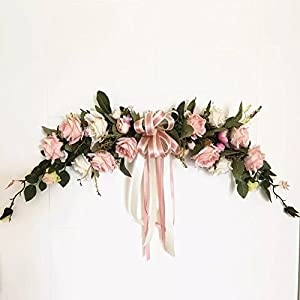 Haperlare Handmade Artificial Pink Peony Swag Wreath Flowers for Home Room Garden Lintel Decoration, Roses Peonies 1