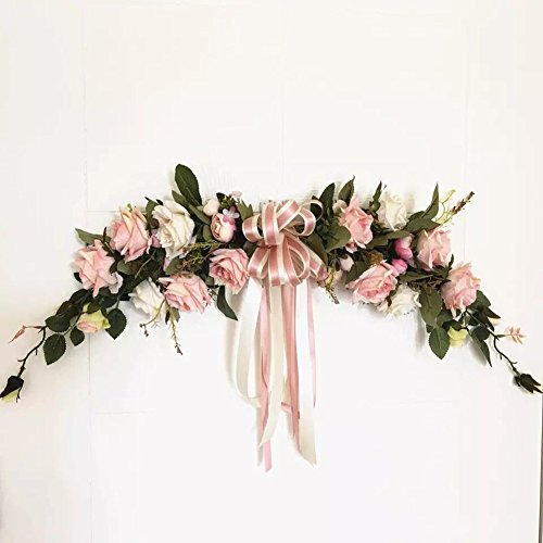 Haperlare Handmade Artificial Pink Peony Swag Wreath Flowers for Home Room Garden Lintel Decoration, Roses Peonies