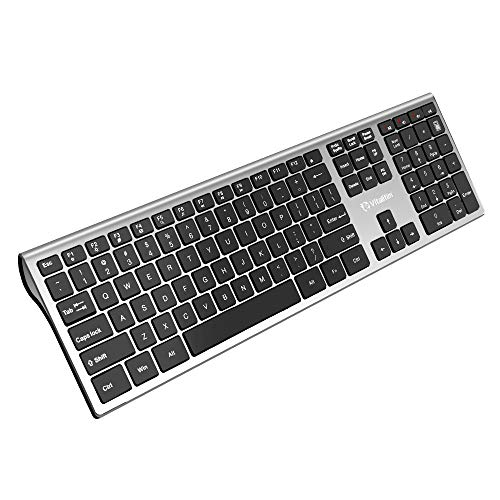 Vitalitim Wireless Keyboard,Ultra Slim Computer Keyboard with 2.4GHz Wireless Connection Technology and Numeric Keypad Support Laptop Desktop PC Tablet Silver