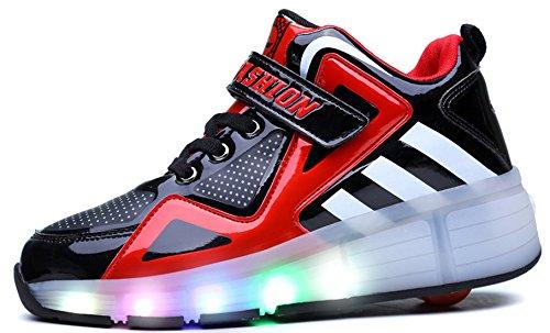 Hoch oben Kinder Junge Mädchen LED Schuhe mit Rollen Herren Skateboard Rollschuhe Damen mit ein Rad 7 Farbe Farbwechsel Sneaker Wanderschuh R3b2J