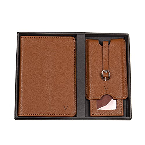 Cathy's Concepts Personalized Leather Passport Holder & Luggage Tag Set, Brown, Letter V by Cathy's Concepts (Image #1)