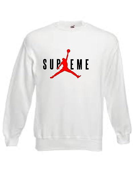 10c479b9e9ac1 FELPE SUPREME Jordan AIR (L) TRIBUTE BIANCO IMITAZIONE  Amazon.it   Abbigliamento