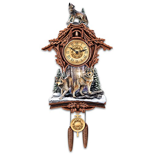 Silent Encounter Sculpted Wolves Cuckoo Clock from The Br...