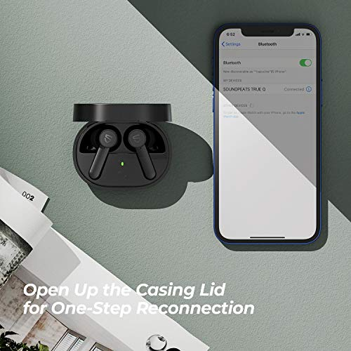 SOUNDPEATS Q True Wireless Earphones Bluetooth 5.0 Wireless Earbuds in-Ear Wireless Charging Headphones with 4-Mic 10mm Driver Touch Control 7Hrs Playtime USB-C Charge