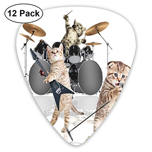 Guitar Picks - Abstract Art Colorful Designs,Cool Fancy Hard Cute Rocker Band Of Kittens With Singer Guitarist Cats Print,Unique Guitar Gift,For Bass Electric & Acoustic Guitars-12 - Metallic Band Cat