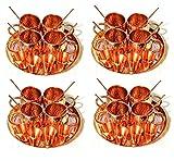 4 Set (13 pc in one set) Set Serve ware Copper Mug Shot Glass Serving Thali Ayurveda Drinkware Straw
