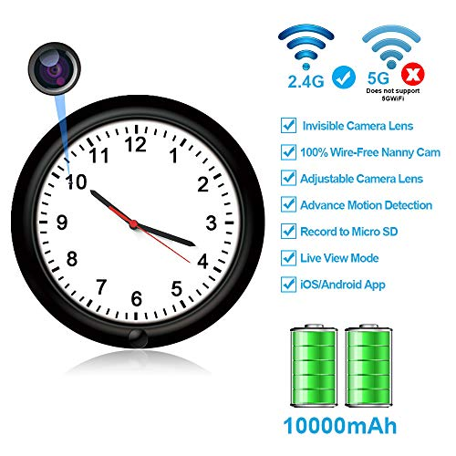 Hidden Camera Motion Activated WiFi Covert Surveillance Wall Clock with 365 Days Battery Spy Camera Lens Adjustable Live View Remote Internet Access Security Covert Camera for Home(Video Only!) Covert Wall Clock Camera